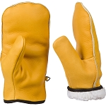 Chopper Mitts, Top-Grain Cowhide Leather, One Pair of Sherpa Lined  Cold Weather Mitten Gloves to fit 11 year olds through large men