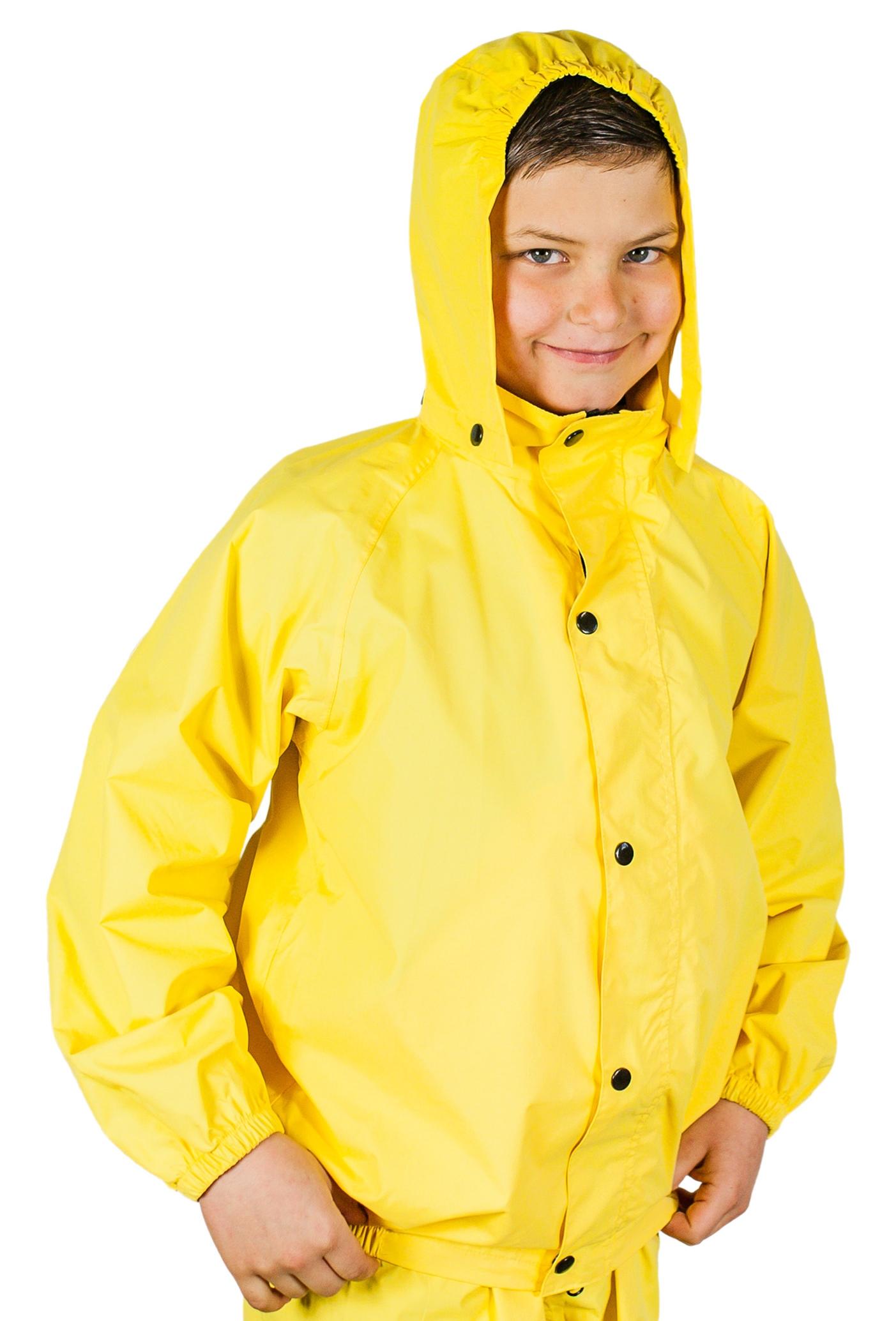 Yellow Children Kid Boys Girls Hooded Raincoat Rain Coat Rainwear Jacket Poncho